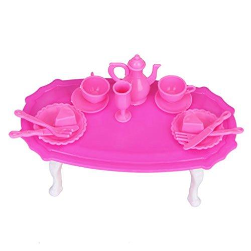 Sharplace Set Meuble de Poupée Table à Manger Dining-Table avec Plats Tasse Rose en Plastique Accessoires Salle de Cuisine Ornement pour Dolls