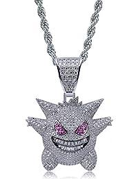 5499bf793ef6 Moca Jewelry Unisex-Halskette mit Anhänger Gengar 18 Karat vergoldet mit 61  cm Edelstahlkette für Herren und…