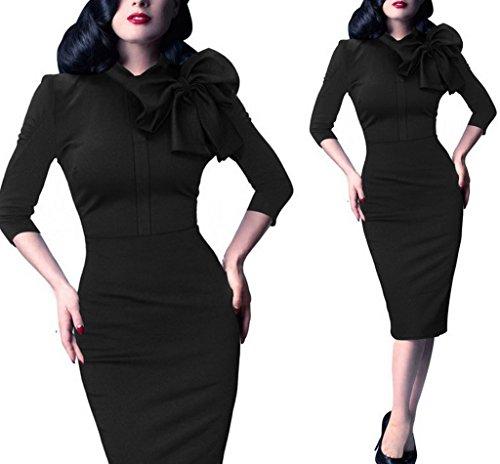 Bigood Vogue Femme Robe Crayon Uni Nœud à deux Boucles Hanche Jupe Uni Noir