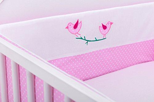 Amilian® Bettumrandung Nest Kopfschutz Nestchen 420x30cm, 360x30cm, 210x30cm, 180x30 cm Vögelchen Rosa Bettnestchen Baby Kantenschutz Bettausstattung (420cm (für das Babybett 140x70cm- rundherum))