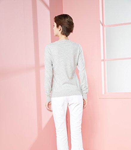 LongMing Damen 100% Kaschmir Pullover for Winter Warm Lange Ärmel Slim Swaeter Hellgrau