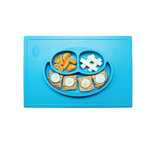 Joyoldelf 2-in-1Baby Happy Face Plate e antiscivolo tovaglietta con sezioni divise, aspirazione Piastra
