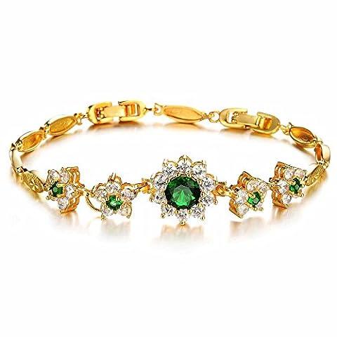 AnaZoz Fashion Jewelry Simple Personality Women's Fashion Bracelet 18k Gold Plated Wedding Engagement Color