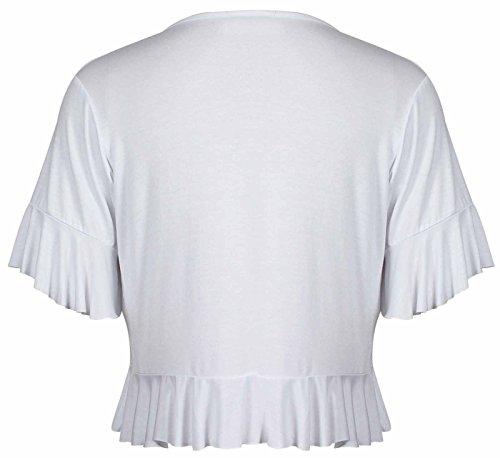 Coprispalle da donna, top, bolero, elasticizzato, con frange, cardigan, taglie forti Bianco