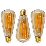Vintage ST64 6W LED Edison Filament Glühbirne Lampen E27 Fadenlampe Glühfaden Leuchtmitte, 6er COB LED Langer Faden und Retro Glas Lampenschirm, Warmweiß 2400K, 3er Pack von Enuotek