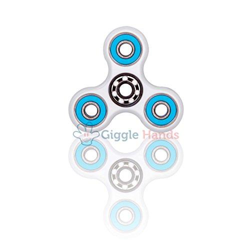 Giggle Hands Fidget Spinner Unruhe Kreisel Spielzeug Stressreduzierer - Perfekt für ADS, ADHS, Angstzustände und Autismus Erwachsene Kinder (Weiss)