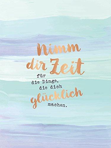 Grafik-Werkstatt Design 30 x 40 cm Poster mit Goldveredelung und Spruch Bild   Wand-Deko   Wall Art   Print   Nimm dir Zeit, Pappe, Blau, 40 x 30 x 1 cm
