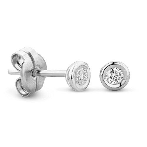 Orovi Ohrstecker Diamant Ohrringe Set ,Damen Weißgold Ohrstecker 14 Karat (585)Brillanten 0.10crt (Weißgold Ohrstecker Diamant)