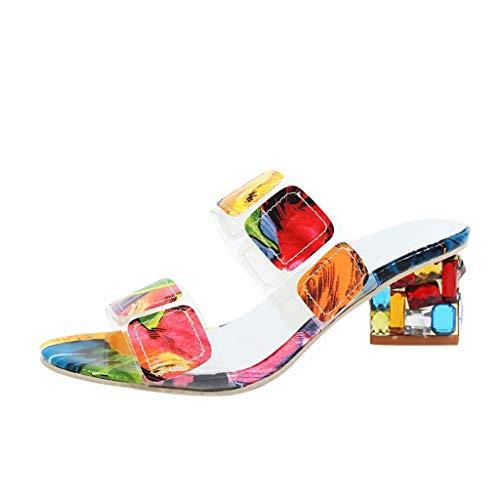 YWLINK Frauen Bunt Sandalen Damen Sommer Mit Absatz Hausschuhe Strass Hausschuhe High Heels Plateauschuhe Mode Quadratische Schuhe(Mehrfarben,41EU) - Rosa Wildleder Fransen