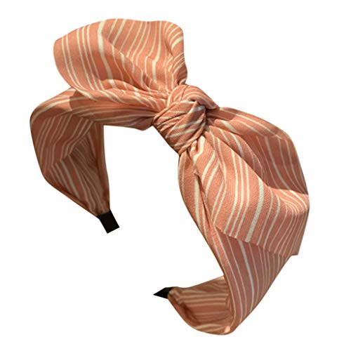 c1c693d6b TOPKEAL Linda Diadema Arco Turbante Ancha Simple Moda Banda Cabello  Horquilla a Rayas para Mujer Chica Jovencita(Rosa,)