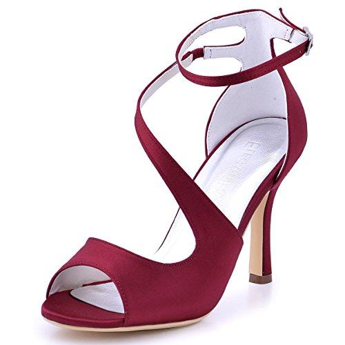ElegantPark HP1565 Mujer Peep Toe Sandalias Boda Tacón De Aguja Correa De Tobillo Satén Zapatos De Novia Borgoña 39