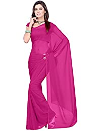 Sidhidata Textile Women's 60 Gram Georgette Solid Plain Saree With Unstitched Blouse Piece For Party Wear Casual...