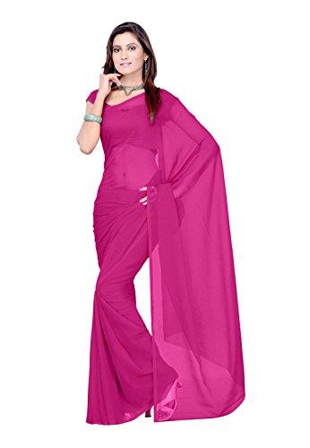 Sidhidata Textile Georgette Saree With Blouse Piece (Plain Wine 729_Purple_Free Size)