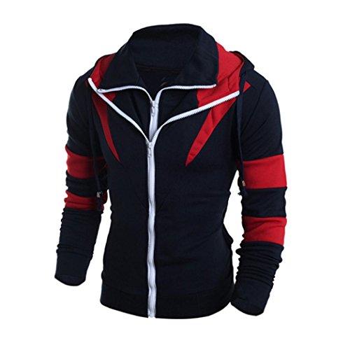 Coat Herren Top (IMJONO Herren Mantel Jacke Übergangsjacke Coat Men Herbst TOP Mode Schlank Entworfen Schwarz (S, Marine-B))