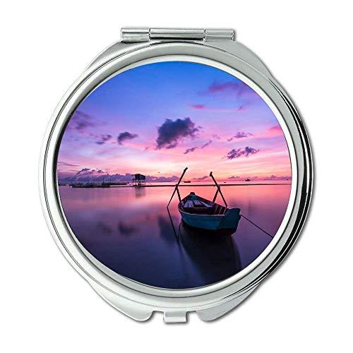 Yanteng Spiegel, Schminkspiegel, Strandboot bunt, Taschenspiegel, tragbarer Spiegel