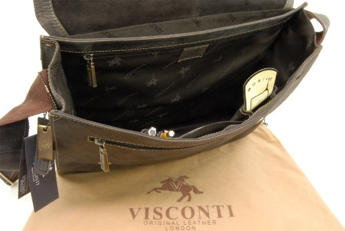 Borsa organiser grande in pelle Messenger Visconti 16052 Olio Marrone