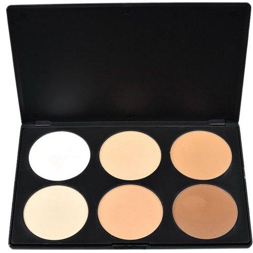 Contever® Palette de maquillage cosmétique Poudre Pressé 6 couleurs Anticerne et fond de teint