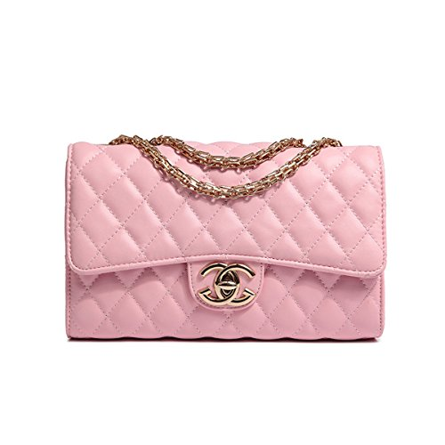 Handtaschen Messenger Bag Lingge Kette Paket Schulter Mode Mini Tasche (Rosa)