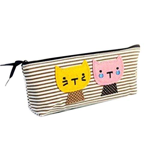 QHGstore Grande capacità cassa di matita sveglia del gatto Tela Cosmetic Pencil Pouch Holder stripe (Stripes Pouch)