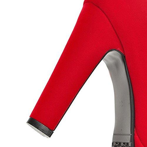 VogueZone009 Femme Tire Rond à Talon Haut Suédé Couleur Unie Chaussures Légeres Rouge