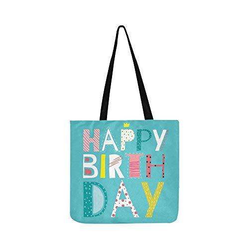 Happy Birthday Grußkarte Leinwand Tote Handtasche Schultertasche Crossbody Taschen Geldbörsen Für Männer Und Frauen Einkaufstasche