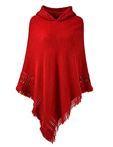 Ferand Ladies' Hooded Cape with Fringed Hem, Crochet Poncho Knitting Patterns for Women, Red