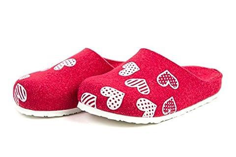 Scholl Mädchenschuhe Mädchen Hausschuhe Pantoffeln Filz Pink Herzen Gr. 31