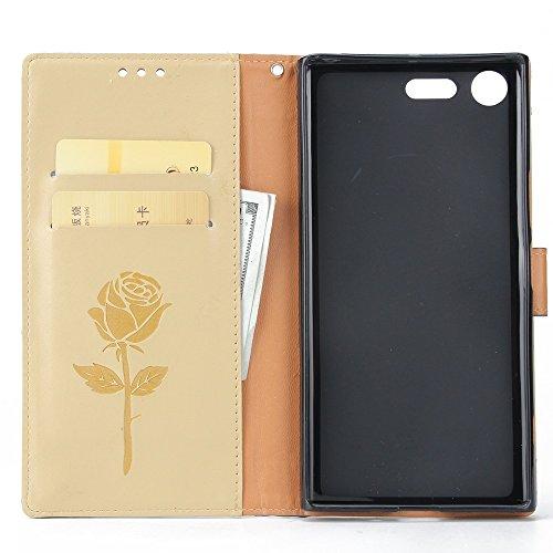 Gemischte Farben Rose Blume matt Premium PU Leder Brieftasche Stand Case Cover mit Lanyard & Card Slots für Sony Xperia XZ Premium ( Color : White ) Gold