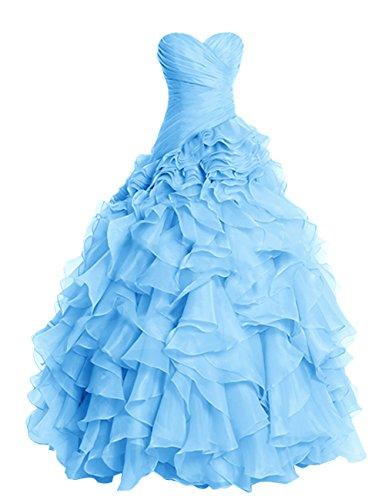 Dresstells Damen Abendkleider Organza Hochzeitskleider Promi-Kleider Blau