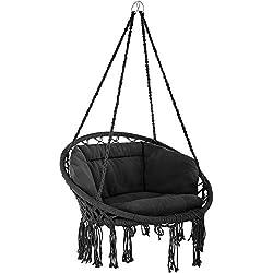TecTake 800708 Fauteuil Suspendu Relax Design de Jardin en Coton, 1 Place, Intérieur et extérieur, Coussins Confortables Inclus - Couleur au Choix - (Noir | no. 403203)