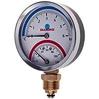 Termómetro de 80 mm de temperatura y presión de hasta 120 °C y 6 bar de 1/2 pulgada BSP lado ENTRY