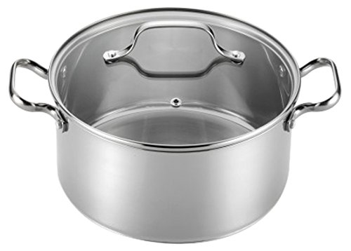 T-fal E75846 Performa Stainless Steel Dishwasher Safe Induction Compatible Dutch Oven Cookware, 5-Quart, Silver