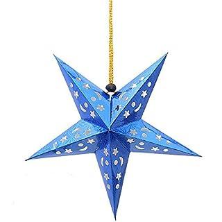 Arpoador 1x 3D Laser Hohl Papier Star 60cm Bar Deckenleuchte Weihnachten Colorful Hochzeit Festival Decor zum Aufhängen von der Arpoador (blau)