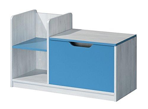 Preisvergleich Produktbild Kommode Spielzeugtruhe Kindermöbel NUKI Kinderzimmer Babyzimmer (Norwegische Kiefer - Hellblau)