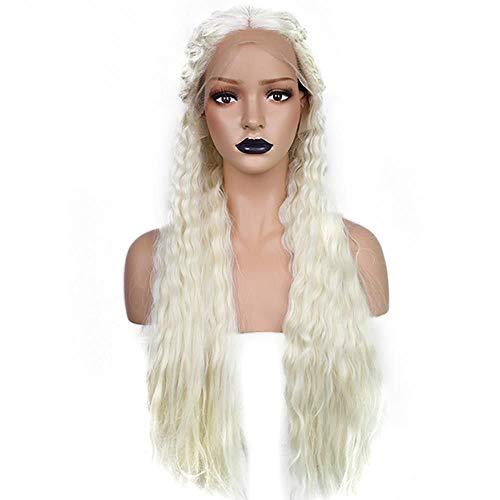 GKGKLA Lange Tiefe Welle Hochtemperaturfaser Geflochten Platin Blonde Synthetische Lace Front Perücke Für Prinzessin Kostüm Cosplay Party, 24 (Turm Prinzessin Kostüm Perücke)