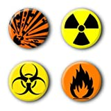4 Warnzeichen Buttons (2,5cm)