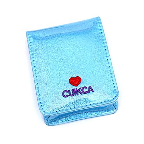 VIccoo Lippenstift Make-up Tasche für Mädchen holographische Leder Herz schöne kosmetische Fall tragbaren Spiegel Veranstalter - Blau