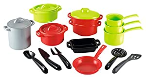 Smoby (SMOBH)-991 Bolsa Set de cacerolas GM, Color Negro, Verde, Gris, Rojo