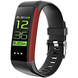 QUMOX Smartband Presión Arterial Monitor de Ritmo Cardíaco Podómetro Fitness Tracker Rojo