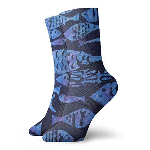 BEDKKJY Zeichnungs-Fisch-Karikatur-Erwachsene Kurze Socken-Baumwollkühle Socken für das Yoga der Frauen der Männer, das das Radfahren wandert, das Fußball-Sport läuft
