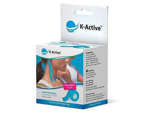 K-Active Tape Classic I 5 m x 50 mm I Kinesiologisches Tape für Nacken, Schulter, Rücken, Knie, Ellenbogen sowie andere Körperteile I elastisches Tape, gute Hautverträglichkeit (blau)