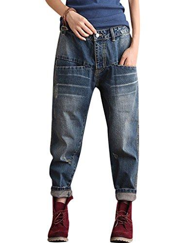 Youlee Damen Herbst Denim Edgy Jeans mit Taschen Tiefes Blau