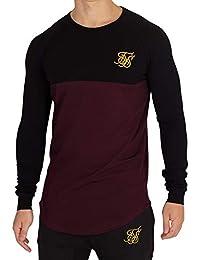 Sik Silk Hombre Camiseta de Gimnasio Raglan Longsleeved, Negro