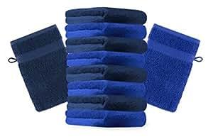 10er Pack Waschhandschuhe Waschlappen Premium Größe 16x21 cm Farbe Dunkel Blau und Royal Blau Kordelaufhänger 100% Baumwolle