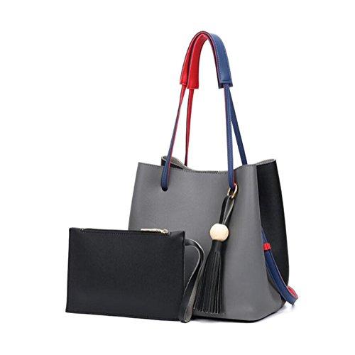 Mjhwsx Borsetta Spalla grande capacità nappe in pelle PU Decorato borsa multifunzionale classica benna regolabile Bag Tote Bag , D - Benna Caso