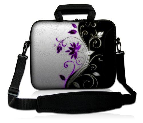 Luxburg® Design Laptoptasche Notebooktasche Sleeve mit Schultergurt und Fach für 17,3 Zoll, Motiv: Blumenornament lila/weiß