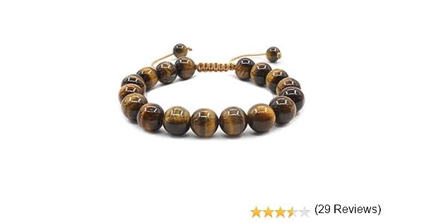 Bracelet R/églable en Pierres Pr/écieuses pour Hommes et Femmes Bracelet de Charme Chanceux Mayting Bracelet Oeil de Tigre Naturel 10 mm