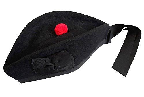 Schottische Glengarry-Mütze, aus 100% reiner Wolle Gr. 61 cm UK 7 5/8 US 7 3/4, Plain Black (Hinter Der Brosche)