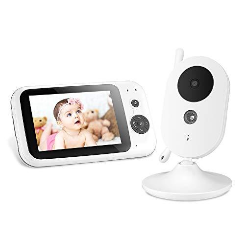 """Babyphone mit Kamera Zeepin Digitales Wireless Babyfon mit 3,5\""""LCD Display (Gegensprechfunktion, Nachtsicht, VOX Mode, Temperatursensor, Schlaflieder) Babymonitor weiß"""