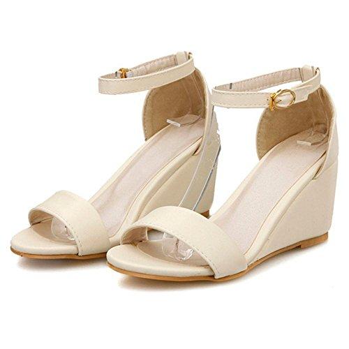 TAOFFEN Femmes Mode Bout Ouvert Sandales Compenses Sangle De Cheville Soiree Chaussures Beige